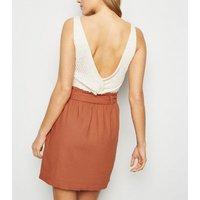 Rust Linen Blend Paperbag Mini Skirt New Look