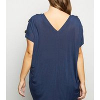 Blue Vanilla Curves Navy Button Shoulder Top New Look