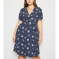 Blue Vanilla Curves Navy Floral V Neck Dress New Look