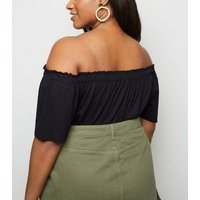 Curves Black Button Front Bardot Top New Look