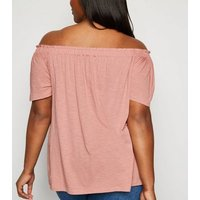 Curves Pink Button Front Bardot Top New Look