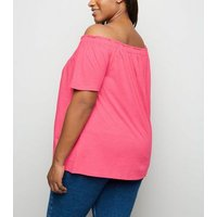 Curves Mid Pink Button Front Bardot Top New Look