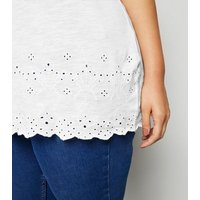 Curves White Broderie T-Shirt New Look