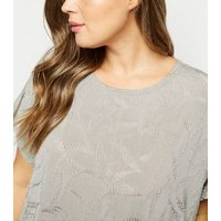 Blue Vanilla Curves Pale Grey Ripple Effect Top New Look