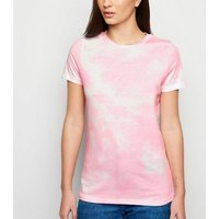 Pink Tie Dye Print T-Shirt New Look