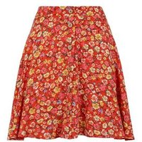 Red Floral Button Up Skater Skirt New Look