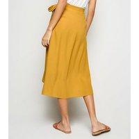 Mustard Wrap Midi Skirt New Look