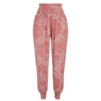 Red Paisley Joggers New Look