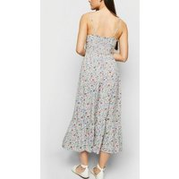 White Floral Lace Up Frill Hem Maxi Dress New Look