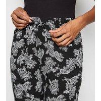 Black Paisley Print Joggers New Look