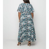 Curves White Snake Print Pleated Maxi Dress New Look