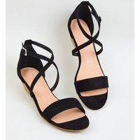 Black Suedette Low Wedge Heels New Look