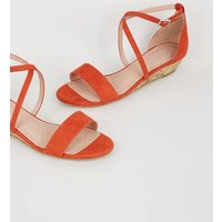 Bright Orange Suedette Low Wedge Heels New Look