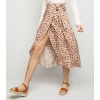 White Floral Tie Side Wrap Midi Skirt New Look