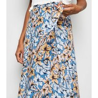 Blue Tropical Floral Wrap Midi Skirt New Look