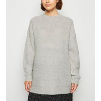 Maternity Pale Grey Longline Jumper New Look