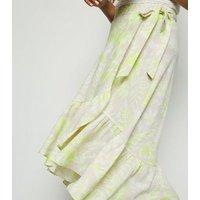 Green Tropical Ruffle Hem Midi Skirt New Look