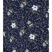 Blue Vanilla Curves Navy Floral Midi Wrap Skirt New Look