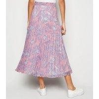 Pink Tropical Pleated Midi Skirt New Look