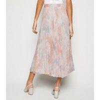 Pink Tie Dye Pleated Midi Skirt New Look