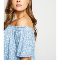 Curves Blue Floral Button Front Bardot Top New Look