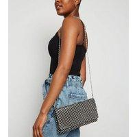 Black Diamanté Foldover Clutch Bag New Look