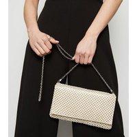 Gold Diamanté Foldover Clutch Bag New Look