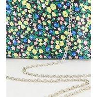Green Floral Print Satin Clutch Bag New Look