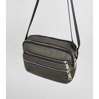 Khaki High Shine Zip Cross Body Bag New Look