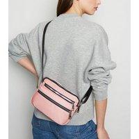 Pink High Shine Zip Cross Body Bag New Look
