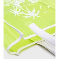 Green Neon Tinted Clear Hawaii Print Tote Bag New Look