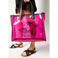 Pink Neon Tinted Clear Hawaii Tote Bag New Look