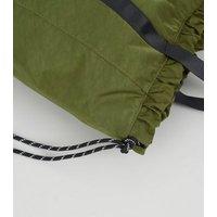 Khaki Number Logo Drawstring Shopper Bag New Look
