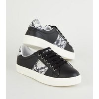 Black Faux Snake Panel Lace Up Trainers New Look