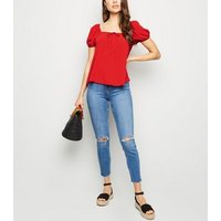 Red Tie Front Square Neck Top New Look