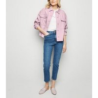 Lilac Cropped Light Utility Jacket New Look