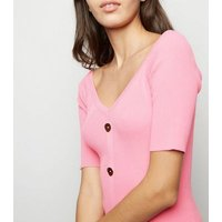Pink Vanilla Pink Button Front Bodycon Dress New Look