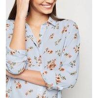 Blue Floral Long Sleeve Shirt New Look