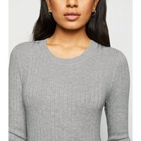 Petite Pale Grey Ribbed Knit Jumper New Look