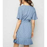 Blue Ditsy Floral Frill Wrap Dress New Look