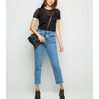 Black Floral Lace T-Shirt New Look