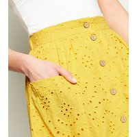 Yellow Broderie Pocket Front Midi Skirt New Look