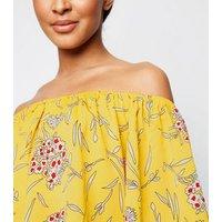 Cameo Rose Yellow Floral Bardot Top New Look