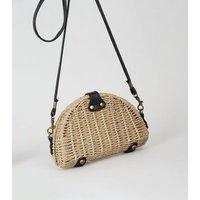 Stone Woven Straw Effect Cross Body Bag New Look