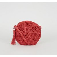 Red Woven Straw Round Cross Body Bag New Look