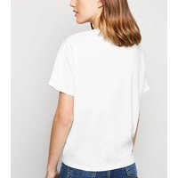 White Organic Cotton Tie Front T-Shirt New Look