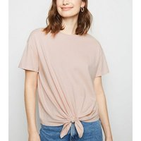 Pale Pink Organic Cotton Tie Front T-Shirt New Look