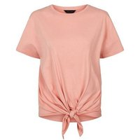 Coral Organic Cotton Tie Front T-Shirt New Look