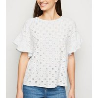 White Broderie Oversized Frill Sleeve Top New Look