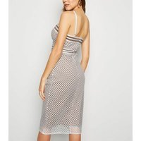 White Fishnet Corset Bodycon Midi Dress New Look